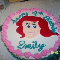 Emily's Cake this was for my daughter's birthday. not one of the best cakes I have ever done. I am definatly not an artist, but i tried for her...
