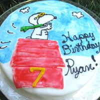 Snoopy Flying Ace fondant covered with painting w/food dye & fondant house covered in red piping gel.