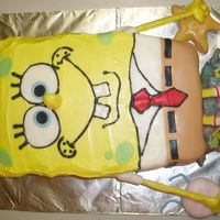 Spongebob Squarepants this is a 2 layer cake (9x13)'s. chocolate with vanilla buttercream and covered in fondant. i used chopsticks covered in fondant for...