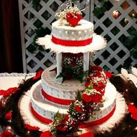 My Second Wedding Cake This is a cake I made for my neice's wedding 2 weeks ago. Those are live sweetheart roses used on it. The bottom layer is strawberry,...