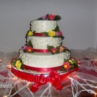 40Th Anniversary chocolate cake with cream cheese/buttercream icing and filling, sugarpaste nasturims and red ribbons