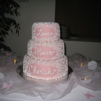 Love, Honor, Cherish In Pink  I wanted something special for my in-laws 40th anniversary party. So I did a soft pink covered in cornelli lace. Next time I will make a...