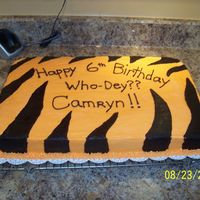 Cincinnati Bengals Cake  I made this for my friends sons 6th birthday. He is a huge Cincinnati Bengals fan. Its just a sheet cake with orange buttercream icing and...
