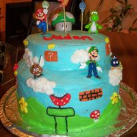 Super Mario Bros. Cake   I made this for my sons 9th birthday.