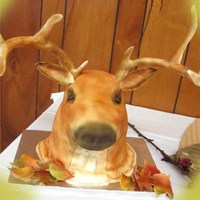 Buck Grooms cake, carrot cake with cream cheese icing covered in fondant..
