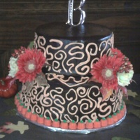 Fall Themed Wedding Cake  Made for a friend who requested a fall them with dark brown and orange. She actually gave me the flower picks and liked the idea of using...