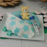 "Baby Bottle, Blankie, Blocks And Bear On A Boppy  This is supposed to look like a Boppy pillow but I wish that I had used a larger cake size {this was a 10"" cake and at least a 12&quot..."