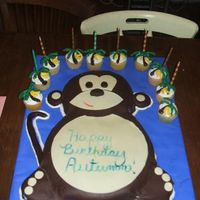Monkey Cake Monkey cake for my Daughters 10th birthday. Chocolate cake and Banana cupcakes. Covered in Buttercream and Modeling chocolate. Based from...