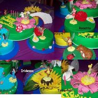 Pixie Hollow Cake for my niece's 4th birthday. She's a Tinkerbell fanatic. 4 6inch rounds with a 10 inch round on top. Chocolate and Funfetti...