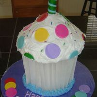 Jumbo Cupcake this was so fun to do! we used parchment paper to make the cupcake liner. the cake is frosted with buttercream frosting, and the sprinkles/...