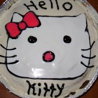 Cake For A Friend She Is In Love With Hello Kitty   this is done with buttercream glaze