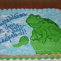 """tadpole"" Baby shower cake done for close friend...she's having a boy. So we wanted the frog theme. First attempt at BCT"