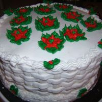 Christmas All buttercream, the sides are basketweave with poinsettas made from buttercream on the top
