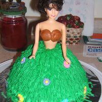 Hula Girl this cake was made for my friend's bridal shower, it was a hawain theme party. The skirt was made with the grass tip using buttercream...