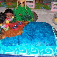 Beach This cake was made for a friends bridal shower, the icing is buttercream, the water was made from gel and blue food coloring, the sand is...