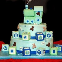 Baby Boy Cake Buttercram , fondant accents.