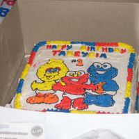 Sesame Street Kids 1St Birthday Yellow cake with buttercream icing. I did this for my neices 1st birthday