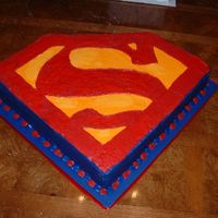 "Superman March 2007 - My brother wanted the superman logo for his groom's cake. I made this from two 14"" squares, stacked and filled with..."