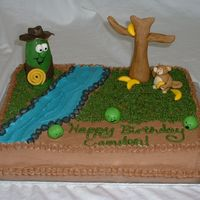 "Minnesota Cuke November 2007 - My son loves the Veggie Tales game ""Minnesota Cuke"" and that was what he wanted for his 6th birthday. The cake is..."