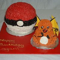 Raichu And Pokeball November 2007 - My oldest son wanted a 3-D Pokemon cake for his birthday. This was a butterscotch cake decorated in butter cream. I used...