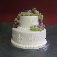 Sugared Grapes Cake for bridal shower. Theme was grapes. Topped this cake with sugared grapes.
