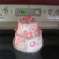 Modern Cake Buttercream with fondant accents. Used floral wire and beads from the craft department.