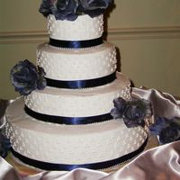 Picture_506.jpg This is my first tiered cake and my first wedding cake. White cake with Wilton's whipped icing, navy blue satin ribbon with silver...
