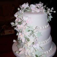May Wedding Fondant Cover cake with Gum Paste Flowers
