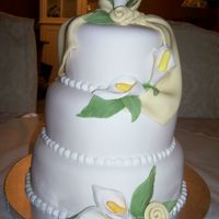 Wedding Cake Fondant Cover Cake With Gum Paste Flowers