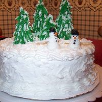 Grandkids Christmas Cake I just completed Wilton Course l in December and decided to make a cake for my grandkids at Christmas. Here are the results.