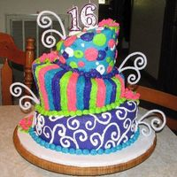 Whimsy Sweet Sixteen My daughter searched all the whimsy cakes on CC. She chose certain elements from her favorites and came up with this design. I baked and...