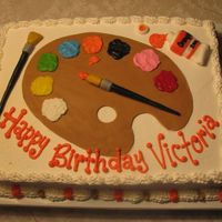 Art Palette I used MMF to make the paint palette, brushes, and paint tube. The cake is vanilla with buttercream icing.