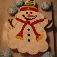Snowman Used 24 cupcakes to make this snowman cake. Used a design I had seen on-line, but changed it a little from the orginal. All buttercream...