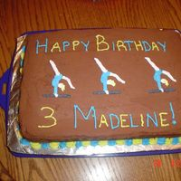 Madeline's Gymnastic Cake My first post! I had a hard time coming up with something for a gymnastics party. Chocolate cake, Chocolate BC, Royal icing of a clipart...