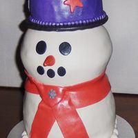 Snowman Birthday Cake This is a 3-D Snowman made from cake, covered in fondant.