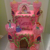 Disney Princess Castle Started with the Disney Princess Castle cake kit, and went from there! I was told that the little princess figurines were the birthday girl...