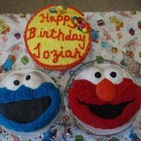Elmo And The Cookie Monster Made this cake for my stepsons' son.
