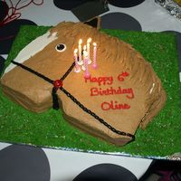 "Horse Cake All BC. Carved out from 9X13"" pan. Not very proportional :P but the customer loved it :)"