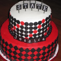 Ball State Graduation   Buttercream with fondant accents. Letters are scrapbooking stickers.