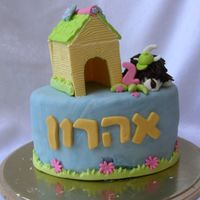 Dog And Kennel  This is the cake for my son's 2nd b-day party at home. All is fondant aside from the dog, which is candy clay... I was really bummed...