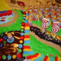 Cake For Jp This was for my daughter's boyfriend's birthday. He likes boats, fishing, motorcycles and bud light. The beer cans are candles.