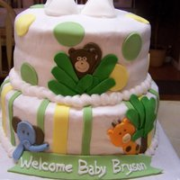 Jungle Baby   Stacked cake covered with buttercream icing and fondant accents