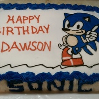 Sonic Hedgehog Buttercream Icing.. Free-hand drawing.