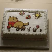 Winnie The Pooh Choc Transfer Practice cake iced in buttercream with my first attempt at chocolate transfer!