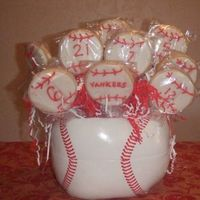 Baseball Cookie Bouquet NFSC iced in rolled buttercream, details in royal icing.