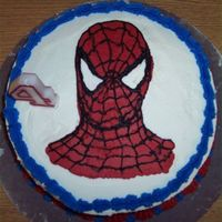 "Spider-Man Buttercream Transfer This was my first attempt at a frozen buttercream transfer for my son's 4th birthday. The cake is a 10"" devil's food layer..."
