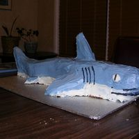 Birthday Shark My 4 year old son is a huge shark fan. This was made with two loaf pans and cut into shape from a picture on a shark book and lots of...