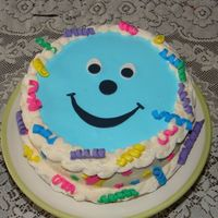 10Thbirthday My daughter wanted a blue smiley face cake for her birthday this year. It turned out to be a very happy looking cake.