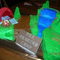 "Camping Theme Cake For Read Across America Week I donate this cake to my daughter's elementary school for Read Across America Week. Their theme for the week was ""Camp out with..."