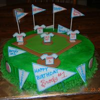 1St Birthday Baseball White Almond Sour Cream with fondant accents. 1st Birthday cake--Birthday boy was jersey #1.